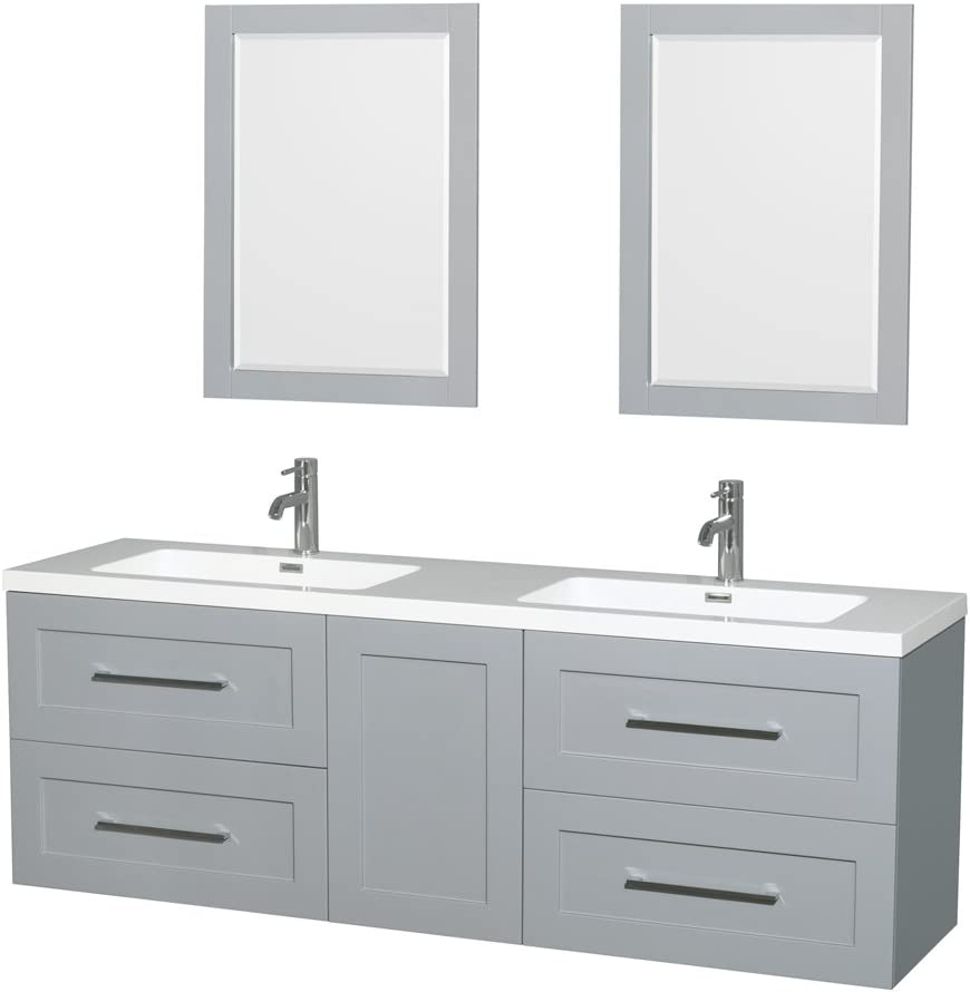 Wyndham Collection Olivia 72 inch Double Bathroom Vanity in Dove Gray, Acrylic Resin Countertop, Integrated Sinks, and 24 inch Mirrors