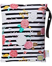 Itzy Ritzy Sealed Wet Bag with Adjustable Handle - Washable and Reusable Wet Bag with Water Resistant Lining Ideal for Swimwear, Diapers, Gym Clothes & Toiletries; Measures 11 x 14, Floral Stripe