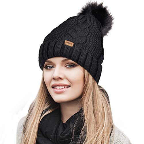 Knit Ski (Winter Knit Hat w/ Faux Fur Pom Pom Cuff Beanie Skull Ski Cap for Women & Men Black)