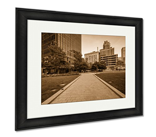 Ashley Framed Prints Walkway And Buildings At Center Plaza In Downtown Baltimore Ma, Wall Art Home Decoration, Sepia, 26x30 (frame size), Black Frame, - Plaza Ma