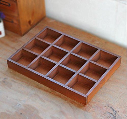 (Multi-functional 12-Grid Vintage Wooden Storage Divider Box Drawer Desk Organizer Tray for Crafts,Flowers, Plants, Jewelry, Supplies from Astra Gourmet)