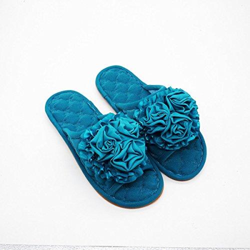 Maison Pantoufles Pantoufles Bois Été Mode Green Printemps Bottom Guang En Tendon Antidérapant Dames Mules Plancher Intérieur Xing blue xZwXYB7q