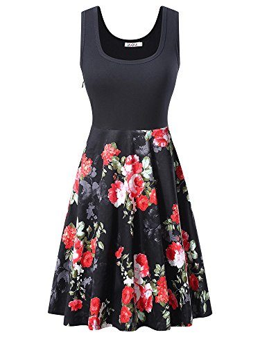KIRA Women's Vintage Scoop Neck Midi Dress Sleeveless A-line Cocktail Party Tank Dress (Small, 6500-3)