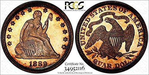 Seated Liberty Quarter 1889 PCGS PR 65 Cameo Monster Toned Under Grade Secure PQ