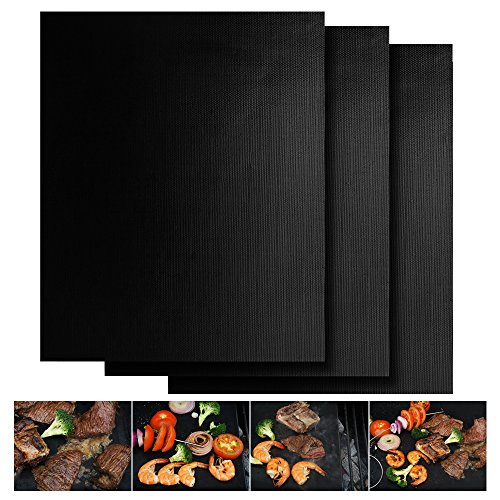 UPC 713057256404, CookIdea Heavy Duty Reusable Grill Mat, Set of 3, for Clean Grilling& Baking Mat, Non-Stick, Durable Quality in 0.3mm Thickness , Free Extra Silicone Brush