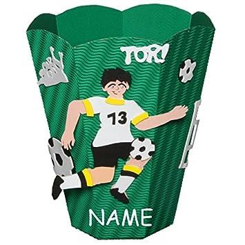 bastelset papierkorb - incl. name - fußball sport mülleimer grün ... - Fussball Deko Kinderzimmer