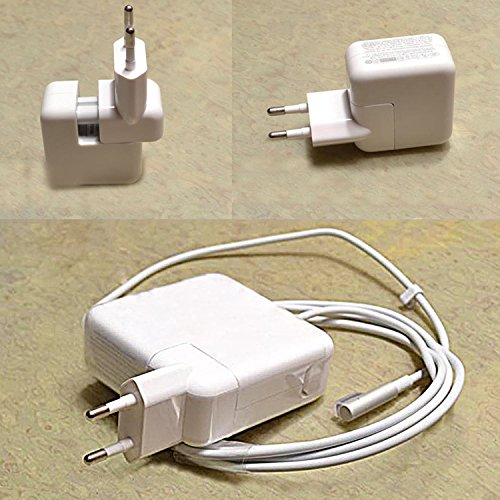 WOVTE Europe Plug Converter Travel Charger Adapter for Apple iBook MacBook White Pack of 2