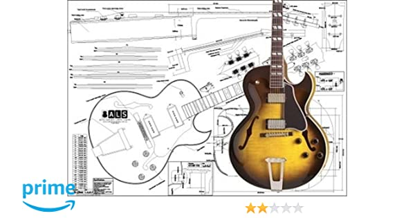 amazon com: plan of gibson es-175 archtop electric guitar - full scale  print: musical instruments