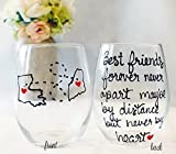 Friendship Gift | State to State Long Distance Wine Glass | 20 oz State or Country Hand Painted Wine Glass All States and Countries Available