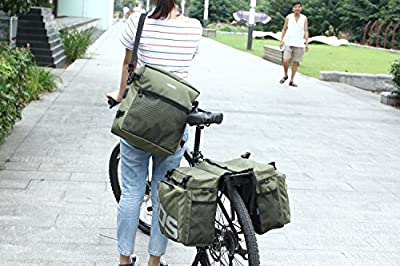 Best Fit For U Roswheel Bicycle Cycling Bike 3 in 1 Multifunction Pannier Bag Rear Rack Seat Trunk Carrier Pack Shoulder Bag(Army Green)
