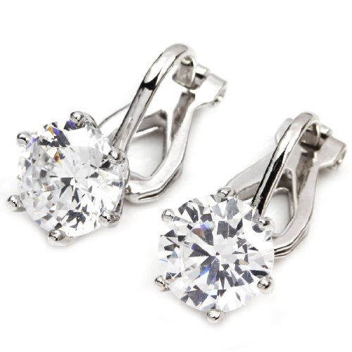FC JORY White & Rose Gold Plated 2 Carat CZ Clip-On Earring 8mm Round-Cut Solitaire Cubic Zirconia Studs