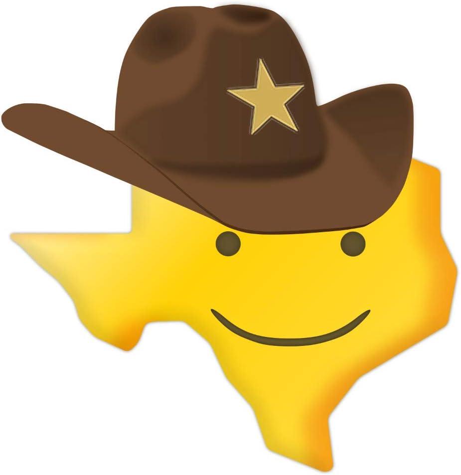 "Texas Smiley Decal, Texas Emoji Sticker. TX Cowboy Hat Sticker 4"""