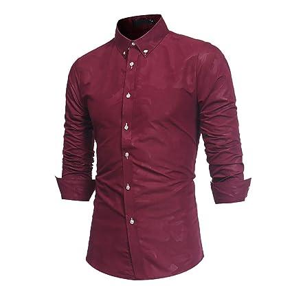 Ropa de Hombre, BaZhaHei, Camisa de Manga Larga de Camuflaje Delgado con Solapa de los Hombres Arriba clásico de la Moda Camisetas de Hombre, ...