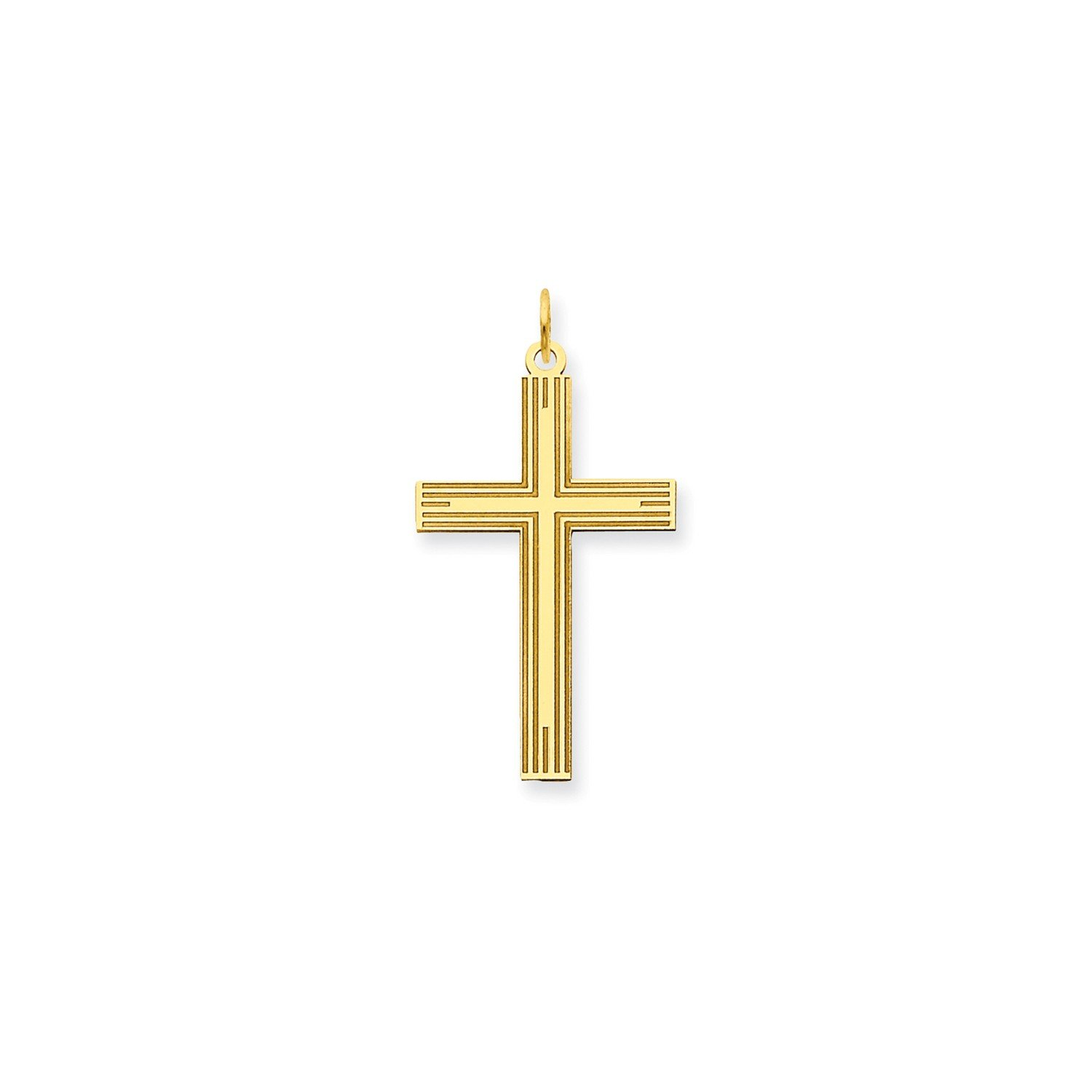 Roy Rose Jewelry 14K Yellow Gold Laser Designed Cross Pendant 32mm length