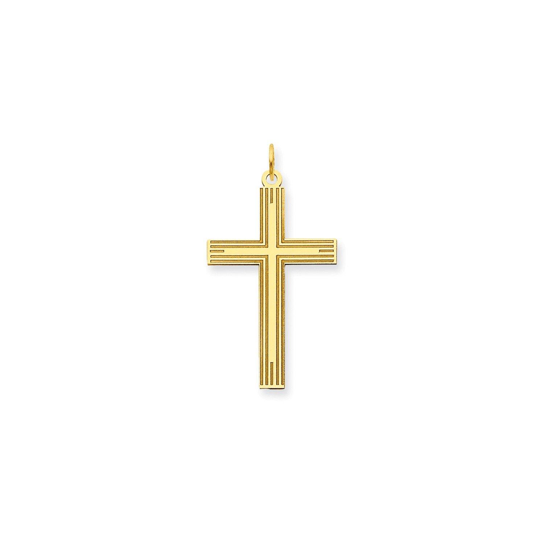 Roy Rose Jewelry 14K Yellow Gold Laser Designed Cross Pendant 32mm length