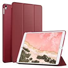 MoKo Case for New iPad Pro 12.9 2017 - Slim Lightweight Smart-shell Stand Cover with Translucent Frosted Back Protector for Apple New iPad Pro 12.9 Inch 2017 Tablet, Carmine Red (with Auto Wake/Sleep)