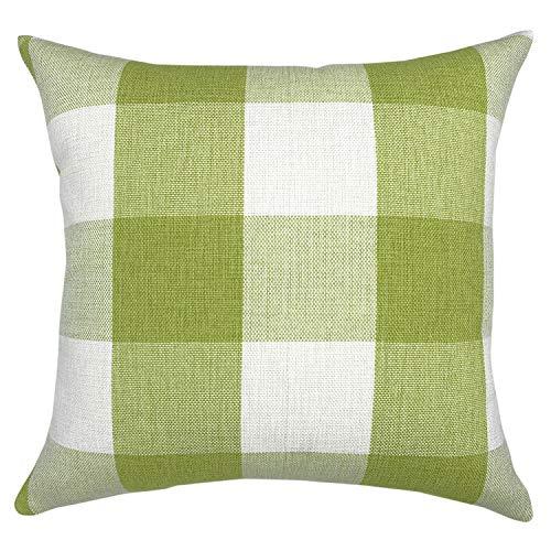 YOUR SMILE Retro Farmhouse Buffalo Tartan Checkers Plaid Cotton Linen Decorative Throw Pillow Case Cushion Cover Pillowcase for Sofa 18 x 18 -