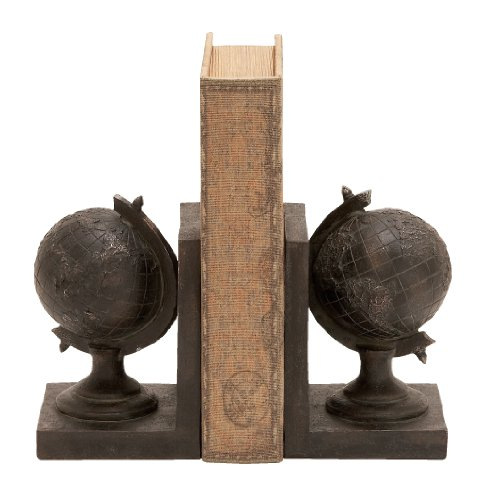 Deco 79 World Globe Themed Book End Set