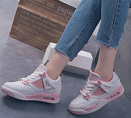 Rose Femme Respirant Sport Chaussures Aisun Baskets Compensées aFcSBB7z