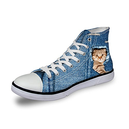 Flats Fashion 3D High Cat Sneakers Casual Top Canvas Shoes Printed Women Animals Bigcardesigns gz1qPpz