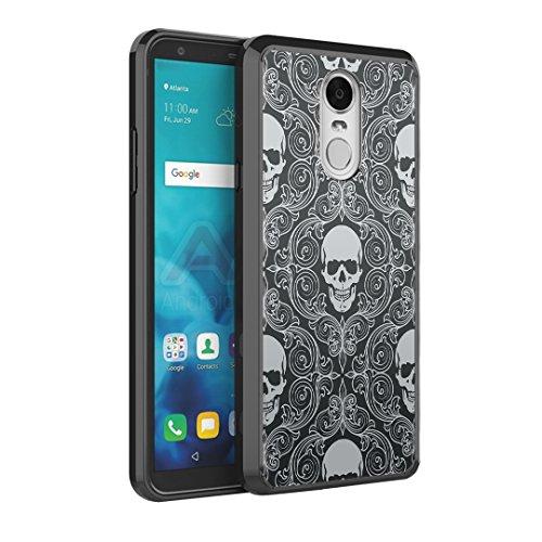 Capsule Case Compatible with LG Stylus 4, LG Stylo 4 (Year 2018), LG Stylus Q [Hybrid Slim Back Shield Fused TPU Edge Bumper Case Black] for LG Stylo 4 - (Skull Pattern) -