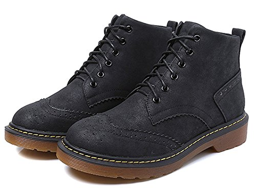 JiYe Womens Shoes Suede Classic Ankle Boots Bullock-black LVWCeFv
