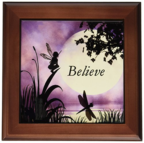 Framed Tile Sky - 3dRose ft_35696_1 Believe, Fairy with Dragonflies with Moon and Purple Sky Framed Tile, 8 by 8-Inch