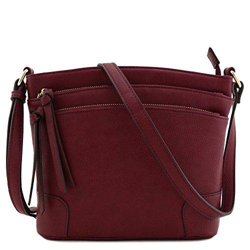 Triple Zipper Pocket Medium Crossbody Bag (Burgundy) ()