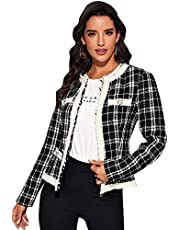 Milumia Women's Elegant Round Neck Long Sleeve Vintage Plaid Tweed Jacket Outwear