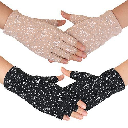 - Flammi Women's UV Protection Fingerless Sun Driving Gloves Cotton Non Skid Palm (Khaki, Black)