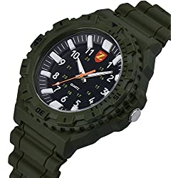 Zeiger New Mens Boys Military Analog Sport Digital Outdoor Wrist Watch for Boyfriend, Forces Marine Corps Swiss Army 3D Silicone Band (Green) W408