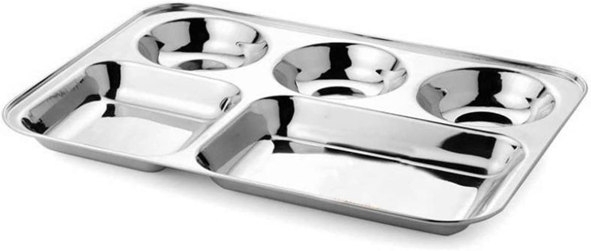 Khandekar Stainless Steel Rectangular Divided Dinner Plate with 5 compartment, Cafeteria Mess Tray, Food Serving Partition Plate for Hiking, Camping, Picnic, Home & Daily Use - 33 cm, Silver