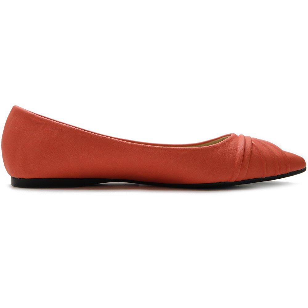 Ollio Women's Shoe Ballet Dress Faux Suede Faux Leather Pleated Pointed Toe Flat B07DFB41NZ 8 B(M) US|Orange