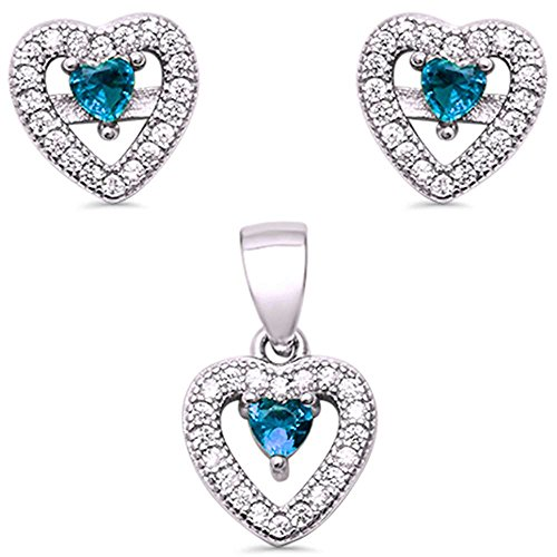 Round Pave Set Heart Earrings (Sterling Silver Aquamarine Pave Cubic Zirconia Earring and Pendant Set)