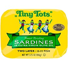 King Oscar Brisling Sardines Tiny Tots Extra Virgin Olive Oil, 3.75 Ounce (Pack of 12)