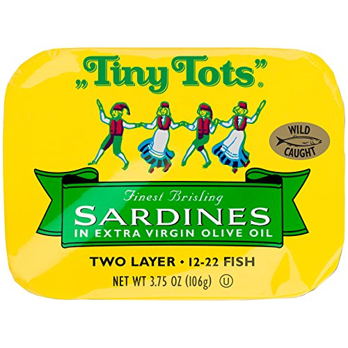 - King Oscar Wild Caught Brisling Sardines Tiny Tots Extra Virgin Olive Oil, 3.75 Ounce (Pack of 12)