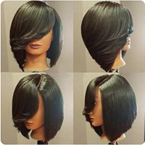 QianBaiHui Short Straight Synthetic Side Parting Bob Wigs With Bangs Brazilian Hairstyle Natural Heat Resistant Hair Female Full Wigs Black Color (Style Natural Wig Bob)