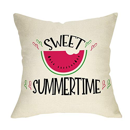 Fbcoo Summer Farmhouse Decorative Throw Pillow Case Sweet Summer Time Decoration Watercolor Watermelon Sign Cushion Cover Home Decor 18 x 18 Inch Cotton Linen for Sofa Couch