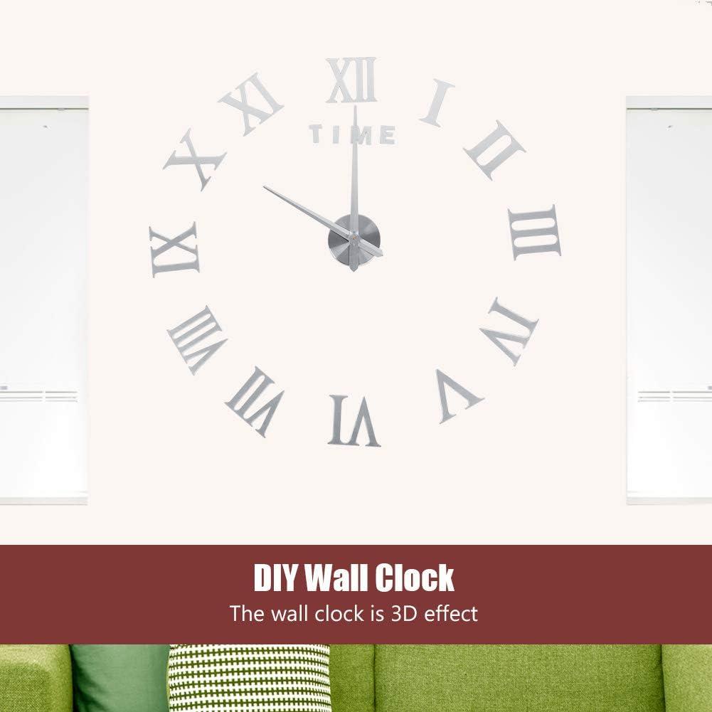 Argent Yosoo DIY 3D Horloge Murale Design G/éante Grande Taille Moderne Ronde avec Chiffres Romains pour D/écoration Salon Bureau