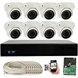 GW Security 9 Channel 4K PoE NVR with 8 x Dome 5MP HD 1920p 3.6mm lens Indoor Security IP Camera (Pre-installed 2TB HDD, up to 8TB total)