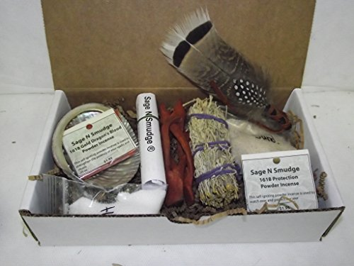 (Sage Smudge Kit Travel Kit Gift Set with Message Card Abalone Shell Stand Sage Wild Turkey Feather Salt Protection Incense Dragonsblood Incese Censor Sand and Directions)