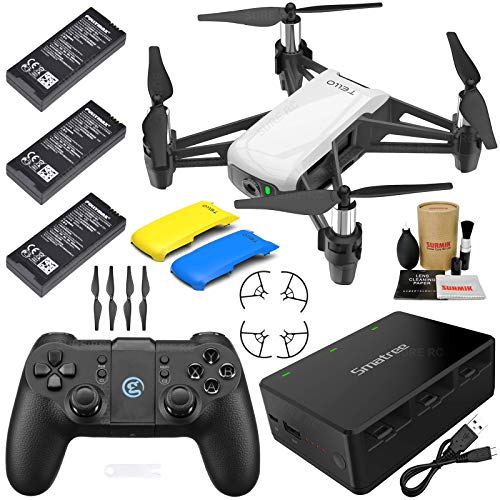 - Tello Drone Quadcopter Executive Plus Combo with 3 Batteries, GameSir Remote Controller, Portable Charging Station, Yellow & Blue Snap-On Covers and More