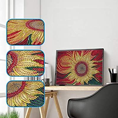 TianMaiGeLun 5d Diamond Painting Kits New Special Shaped Diamond Embroider DIY Kits for Kids Adults Paint by Number Kits Cross Stitch Craft Kit Painting by Diamonds (Sunflower): Toys & Games