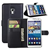 Premium Leather Wallet Case Cover with Stand Card Holder for Huawei Ascend Mate 2 4G Phone (Wallet - Black)