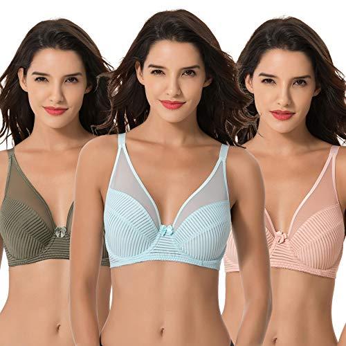 Curve Muse Women's Plus Size Minimizer Unlined Underwire Full Coverage Bra-3PK-GREEN,Pink,LT BLUE-34DDD
