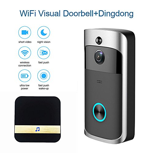 WIFI Smart Video Doorbell, Wireless Door bell with Ding Dong 720P HD Security Camera Intercom Door Real-Time Two-Way Talk and Video, Night Vision, PIR Motion Detection and App Control for IOS Android