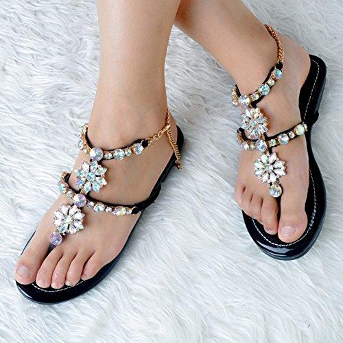 Sexy mano planas del Hecho Zapatos Deco Kolnoo Moda tobillo Correa mujer sandalias Negro a Rhinstone para wzPOpX