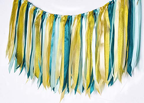 Aimto Green Fabric Garland Tassel Ribbon Satin Garlands Tassels for Jungle Forest Theme Party, Tropical Party, Hawaiian Party, Luau Party, Birthday Party,Green Theme Party Decorations
