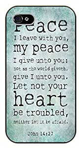 For SamSung Galaxy S4 Case Cover Bible Verse - Peace I leave you with my peace. Let not your heart be troubled. John 14:27 - black plastic case / Verses, Inspirational and Motivational
