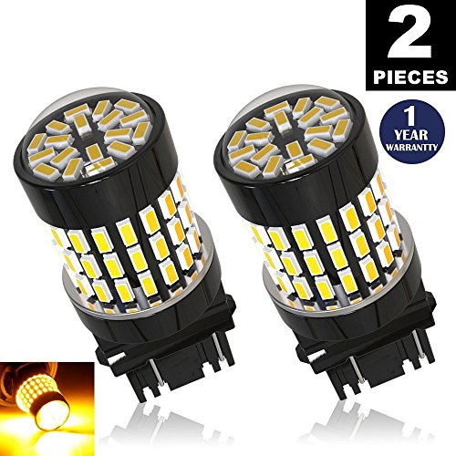 Non-polarity!LUYED 2 X 900 Lumens Super Bright 3014 78-EX Chipsets 3156 3157 3057 4157 LED Bulbs Used for for Turn Signal,Amber (Jeep 2007 Compass Used)